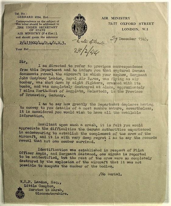 Landon - Air Ministry letter 1