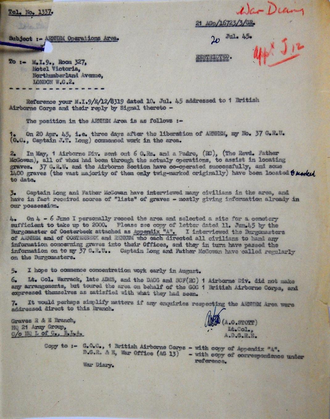 Stott memorandum, 20 July 1945